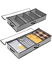 Under Bed Cloth Organizer SOLEDI Under Bed Storage 2 set with Durable Handle & Clear Window Adjustable Dividers 100x42x15cm, 63L(Grey)