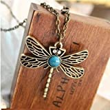 Wonderful offer!!! Fashion Women&apos-s Retro Vintage Copper Dragonfly Big Stone penndant neccklace