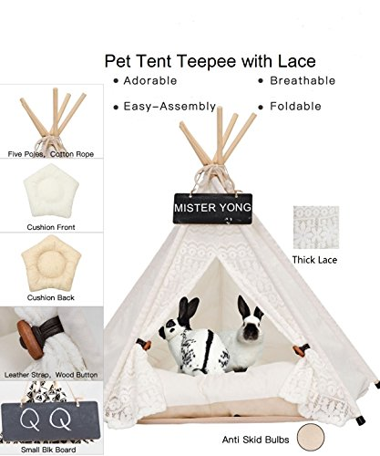 Yongs Pet Cat Dog Rabbit Teepee Cushion,Portable Puppy Small Animals Bed Tent (20 X 24 Inch) by Yongs (Image #4)