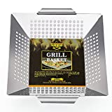SMAID Vegetable Grill Basket - Large Stainless Steel Veg Grill Basket Works On Gas Wok Or Smoker-Outdoor Barbecue Camping Campfire Use