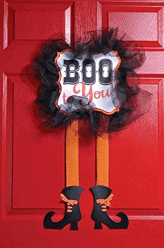 [Halloween Witch Legs Hanging Wooden Sign