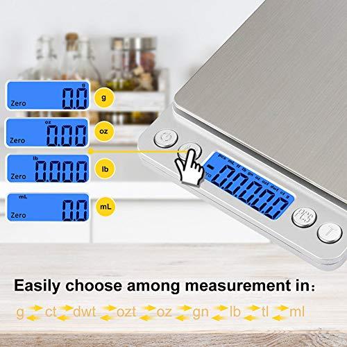 Báscula Digital para Cocina con Carga USB, Báscula Electrónica de Alta Alimentos Precisión (3 kg-0.1g/0.01oz)con Retroiluminación und 2 Tazón Removible, ...