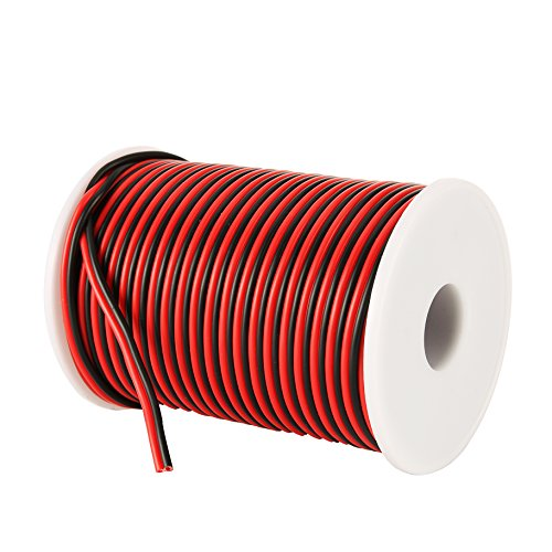 C-able 100FT 18 AWG Gauge Electrical Wire Hookup Red Black Copper Stranded Auto 2 Wire Low Voltage 12v DC Wire for Single Color LED Strip Extension Cable Cord Spool