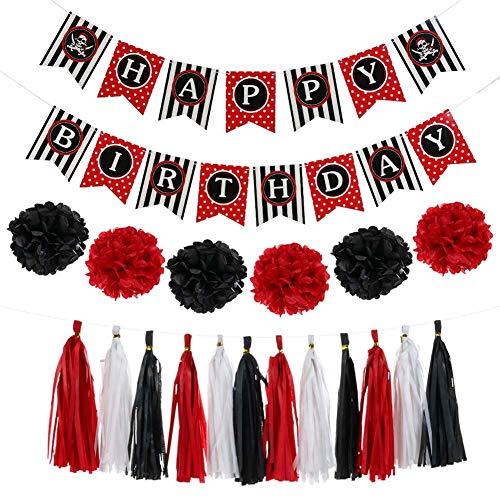 ZYXY Pirate Happy Birthday Banner Party Decoration Supplies, Happy Birthday Banner, Paper Flowers, Paper Tassels for Birthday Party Supplies]()