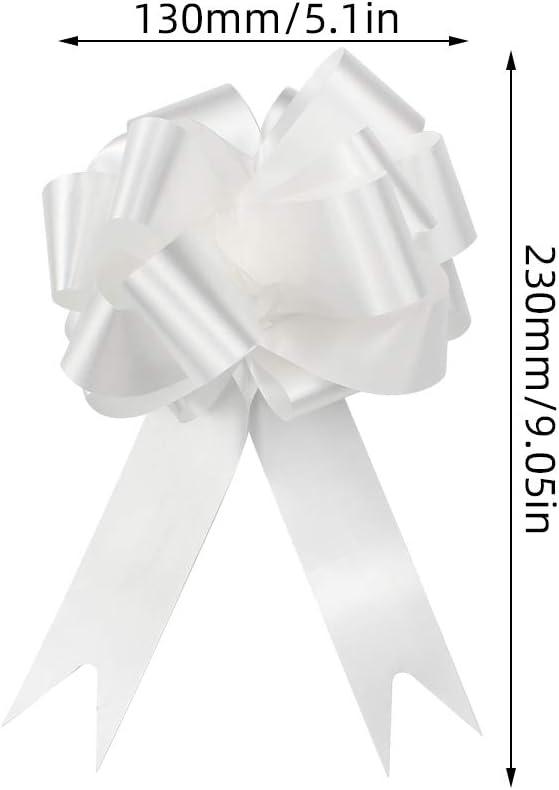 Blanc Paniers Arrangements Floraux D/écorations de F/ête YapitHome 30 Pi/èces N/œuds Automatiques N/œuds en Ruban Blanc Large Ruban Noeuds /à Tirer D/écoration pour Cadeaux Voitures de Mariage