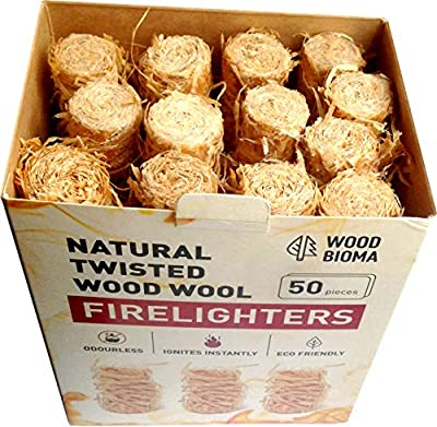 Woodbioma Natural Twisted Wood Wool Firelighters 50 Pieces, Fire Starter Logs Charcoal Grill Kamado Joe Big Green Eggs Duraflame Kindle Fire Fireplace Primo Smoker BBQ Barbecue by Woodbioma