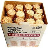 Woodbioma Natural Twisted Wood Wool Firelighters 50 Pieces, Fire Starter Logs Charcoal Grill Kamado Joe Big Green Eggs Duraflame Kindle Fire Fireplace Primo Smoker BBQ Barbecue