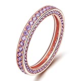 SOMEN TUNGSTEN 925 Sterling Silver Eternity Rings Rose Gold-Plated Cubic Zirconia Engagement Wedding Band