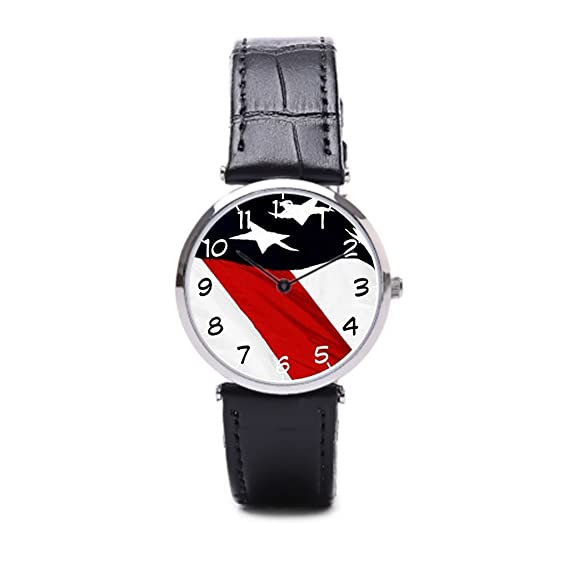 puppya relojes de cuero para hombre la paz muñeca relojes Marcas Militar Negro/Plata: Amazon.es: Relojes
