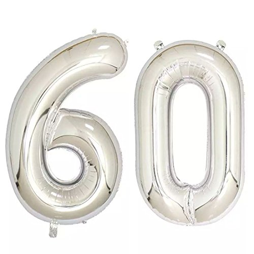 40inch Silver Foil 60 Helium Jumbo Digital Number Balloons, 60th Birthday Decoration for Women or Men, 60 Year Old Birthday Party Supplies]()