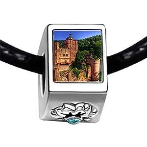 Chicforest Silver Plated Travel Heidelberger Schloss Castle Photo Blue Aquamarine Crystal March Birthstone Flower Charm Beads Fits Pandora Charm