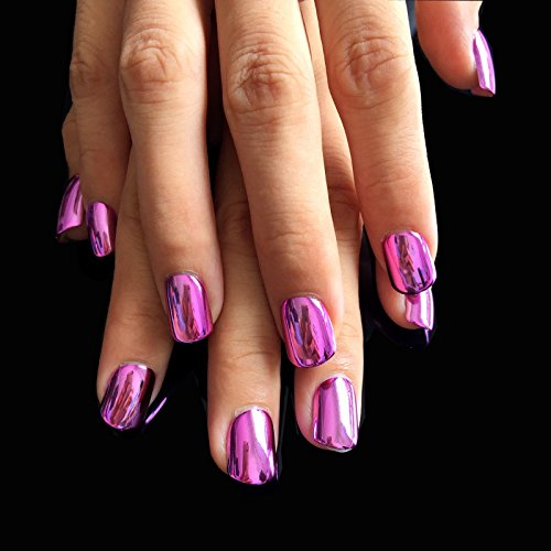 Flat Top Metallic False Nail Tips Acrylic Mirror Shine Surface Hot Pink Purple Middle Design Finger Nails N08