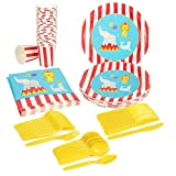 Disposable Dinnerware Set - Serves 24 - Circus Animal Party Supplies - Includes Plastic Knives, Spoons, Forks, Paper Plates, Napkins, Cups