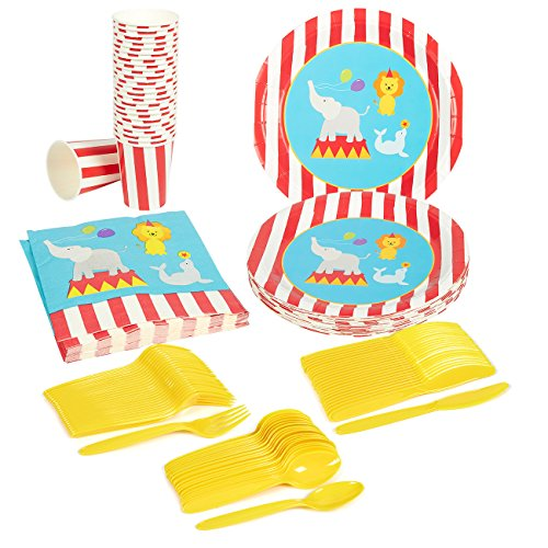 (Circus Party Supplies – Serves 24 – Includes Plates, Knives, Spoons, Forks, Cups and Napkins. Perfect Circus Birthday Party Pack for Kids Circus Animal Themed)
