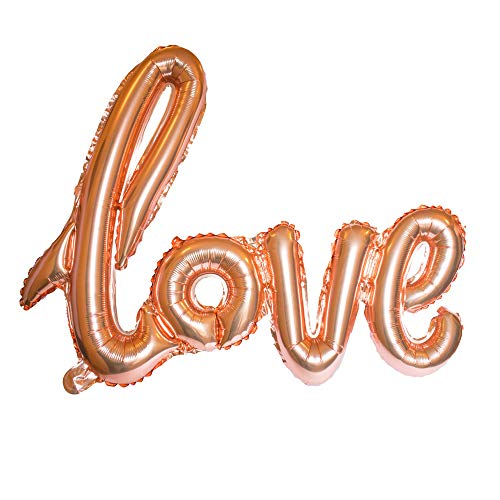 Love Balloon Rose Gold Pink Letter Banner Writing Script Handwriting Foil Decorations Valentines Wedding Romantic Gifts Balloon Anniversary Decor Bridal Shower or Birthday Marry Party Christmas Day (Gold Foil Words)