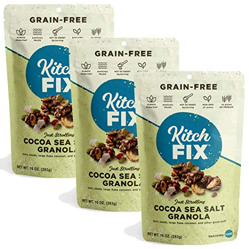 Kitchfix Grain-Free Paleo Granola   Vegan Plant-based protein from nuts and seeds   Certified gluten-free   Low sugar, low carb granola   Roasted in pure coconut oil   10oz (Cocoa, 3-Pack)
