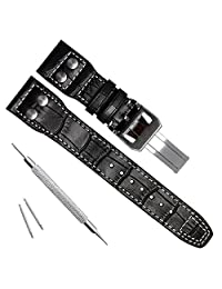 22mm Genuine Leather Silver Buckle Watch Strap Band fit for IWC PILOT'S Watchs Black