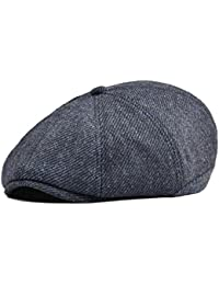 8172c688e3d Mens Wool Blend Newsboy Cap 8 Pannel Hat Tweed Cap Herringbone Cabbie Flat  Cap