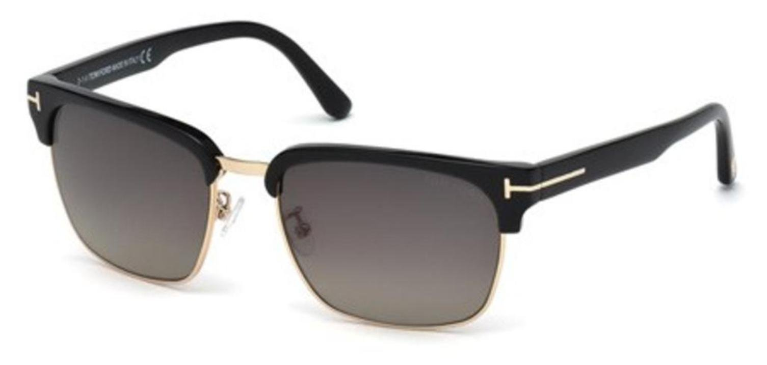 Tom Ford TF367 01D Black River Clubmaster Sunglasses Polarised Lens Category 3