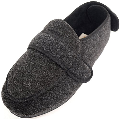ABSOLUTE FOOTWEAR Mens Orthopaedic/Extra Wide Fit Adjustable Slipper Boot/Slippers - Grey - 11 US
