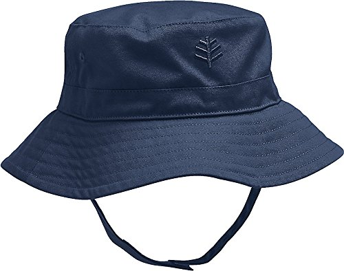 Coolibar UPF 50+ Baby Chin Strap Hat - Sun Protective (One Size- Navy)