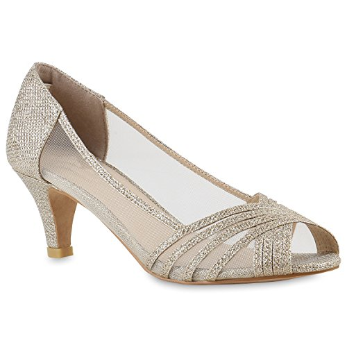 Stiefelparadies Klassische Damen Pumps Kitten Heels Lack Peeptoes Strass Glitzer Abendschuhe Brautschuhe Transparent Schuhe Stilettos Flandell Gold Transparent