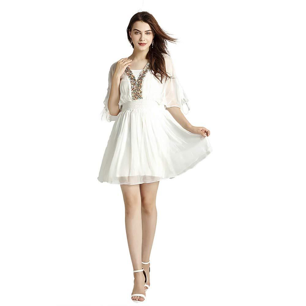 Sayhi Empire Waist Chiffon Dress Bohemian Seaside Resort Beach Dress Fresh and Sweet Party Dress(White,XL)