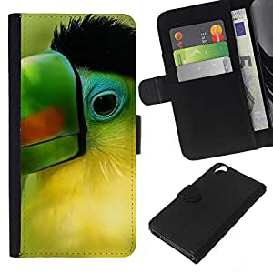 Planetar® Modelo colorido cuero carpeta tirón caso cubierta piel Holster Funda protección Para HTC Desire 820 ( Loro Verde Pico Pájaro tropical Naturaleza )