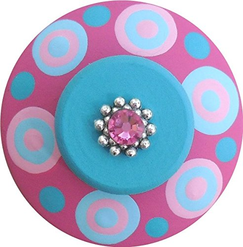 (Hand Painted Jeweled Turquoise Hot Pink Polka Dots Decorative Kids Dresser Knobs Furnitue Kids Childrens Nursery Room Art Home Decor Wood Drawer Knobs Pulls)