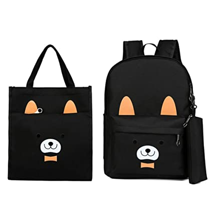 Childrens school bag Simple design laptop bag student backpack 2 piece set teen girl backpack set 2 in 1 shoulder bag wallet casual school backpack canvas bag travel daily Large-capacity childrens s