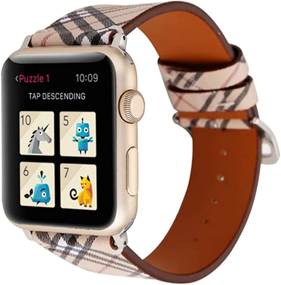 Compatible with Apple watch Iwatch band 44mm 42mm 40mm 38mm, Leather Replacement Band Strap Watch band women