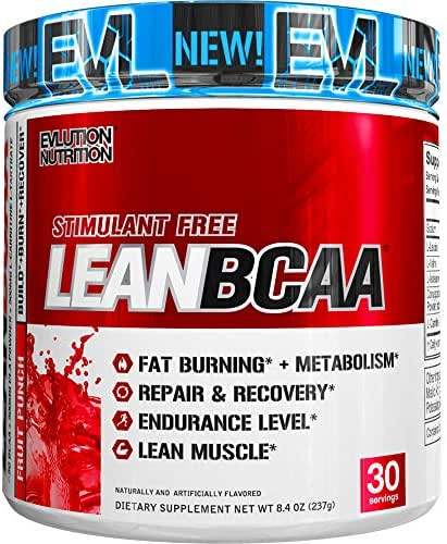Evlution Nutrition LeanBCAA, BCAA's, CLA and L-Carnitine, Stimulant-Free, Recover and Burn Fat, Sugar and Gluten Free, 30 Servings (Fruit Punch)