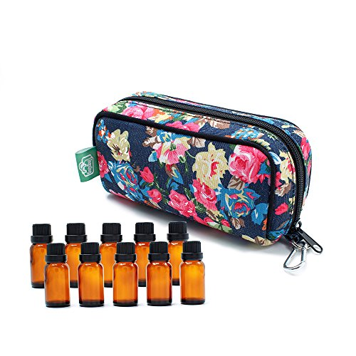 10-Bottle Essential Oil Carrying Cases Box,Essential Oils Travel Bag For doTERR Youg living Oils 5ml, 10ml and 15ml bottle (Peony) by Gogobag (Image #1)