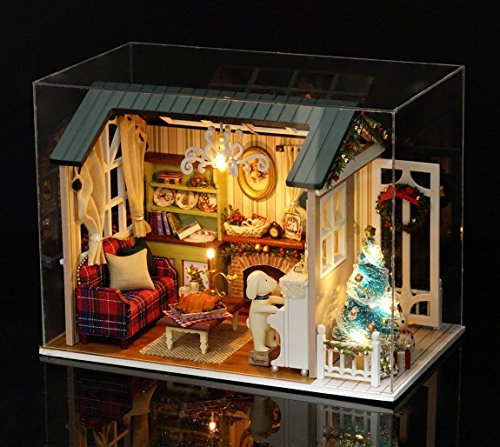 Miniature Christmas Houses - Flever Dollhouse Miniature DIY House Kit Creative Room With Furniture for Romantic Gift (Holiday Time Plus Dust Proof Cover)