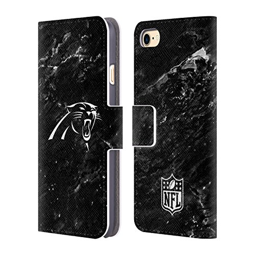 Official NFL Marble 2017/18 Carolina Panthers Leather Book Wallet Case Cover for iPhone 7 / iPhone 8