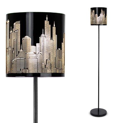 Modern gloss black new york skyline floor lamp