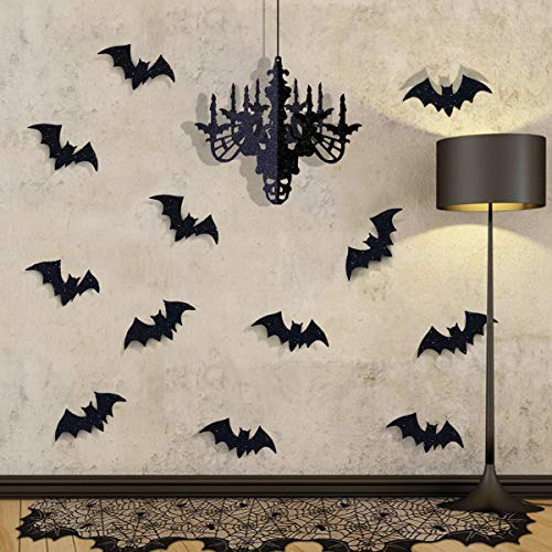 Diy Gothic Halloween Decorations (Pawliss Halloween Decorations Indoor Party Decor, Black Lace Spider Web Fireplace Mantle Scarf Cover, Glitter Chandelier and Bat Wall Decals, Stretch Cobwebs, Set of)