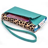 Kroo Metro Safari PU Leather Snap On Credit Card Phone Wristlet for Alcatel One Touch Fierce