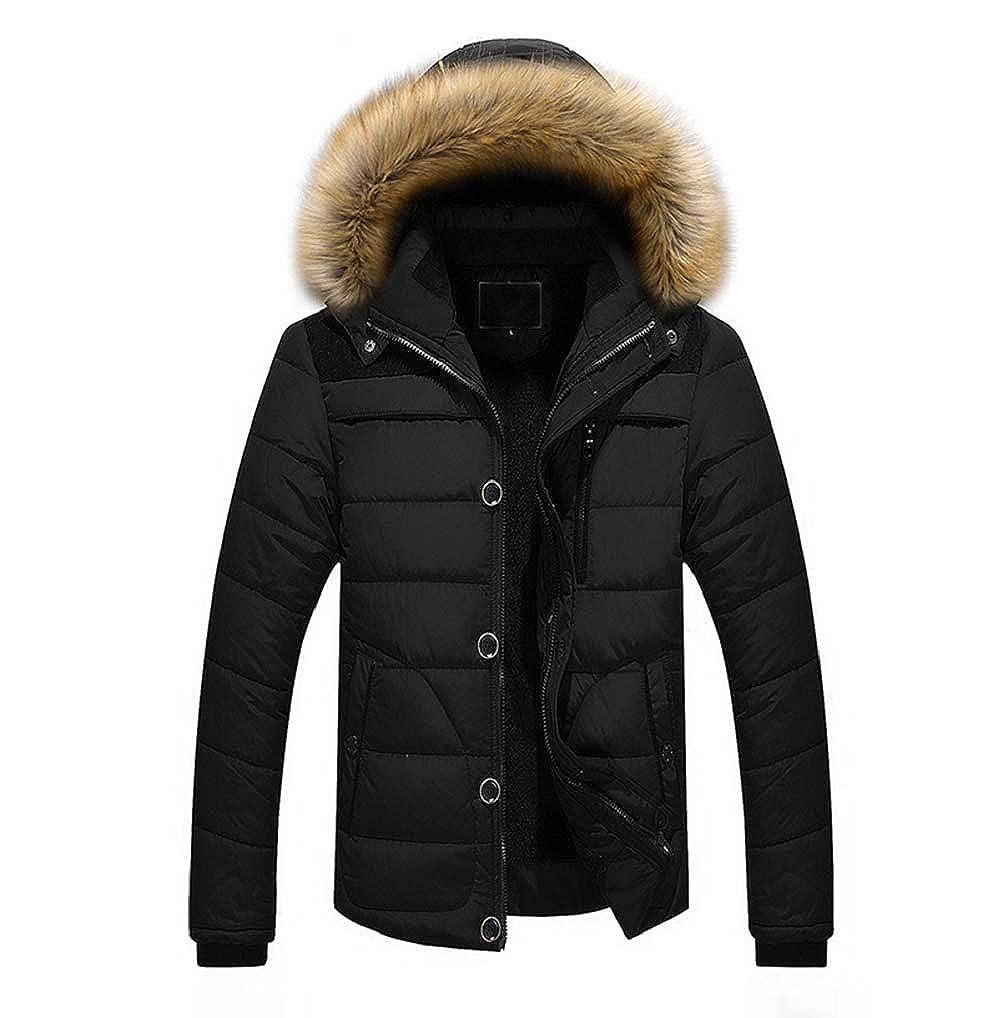 FNKDOR Homme Manteau d'Hiver Veste Chaude en Cotton Parka à Capuchon en Fourrure Mens Outdoor Noir