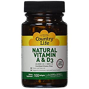 Country Life Natural Vitamin A and D3, 10000 IU/ 400 IU 100 Softgels