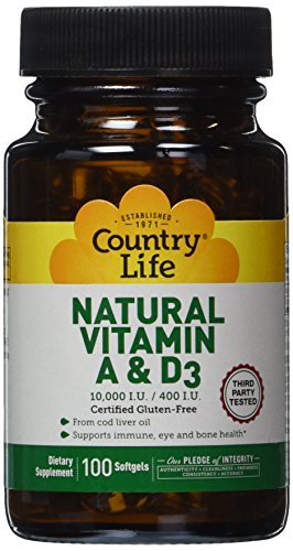 Country Life Vitamin A and D3, 10000 i.u./400 i.u., 100 Count