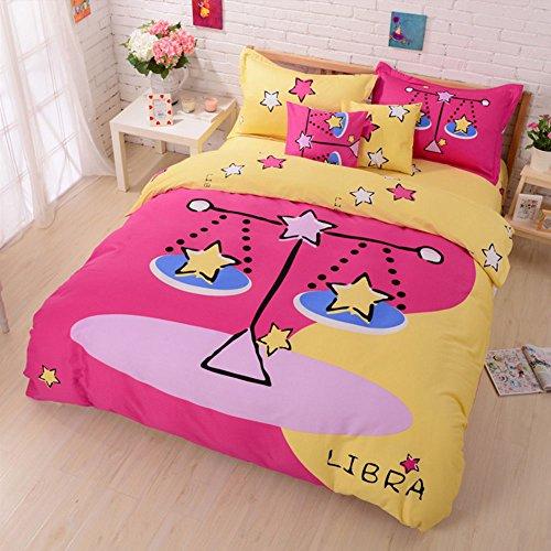 100% Cotton Cute Style Cartoon Bedding Set Twelve Constellation Printed Duvet Cover Set The Zodiac Duvet Cover Flat Sheet with Pillow Shame,No Comforter,King Size (Libra,#2)