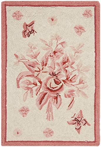 Safavieh Chelsea Collection HK250C Hand-Hooked Ivory and Rose Premium Wool Area Rug (1'8