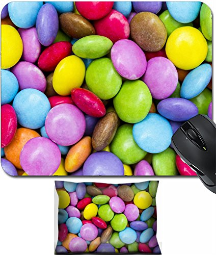 MSD Mouse Wrist Rest and Small Mousepad Set, 2pc Wrist Support design 23552153 chocolate lentils smarties candy confectionery multicolored colorful halloween -