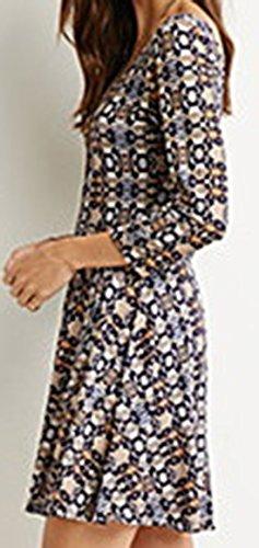 erdbeerloft - Damen Gemustertes 3/4-Arm Minikleid, Mehrfarbig, XS-XL