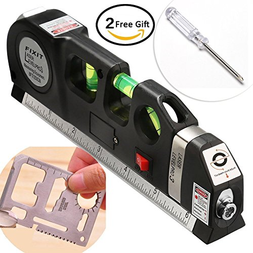 Multifunction Laser Level - BRILLIFE Laser Leveler Spirit Level Line Lasers Ruler,Gradienter Horizontal Ruler Measure Line Laser 8ft Adjusted Standard & Metric Scale Measure Tape Ruler,[NEW Add 2pcs Tools As Surprise Gift]
