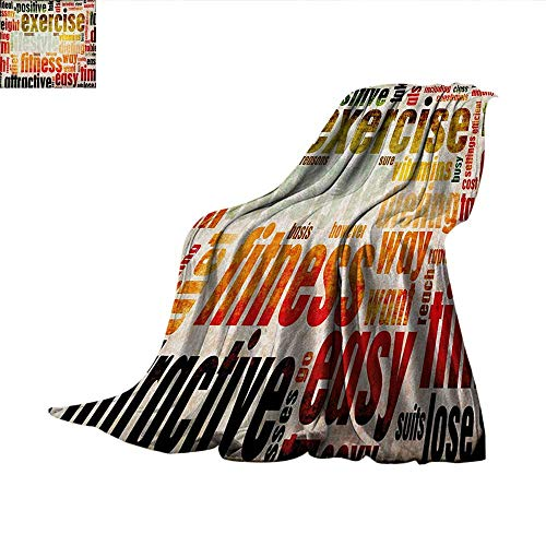 Fitness Weave Pattern Blanket Grungy Framework with Different Words Healthcare Concept Diet Endurance Exercising Summer Quilt Comforter 62