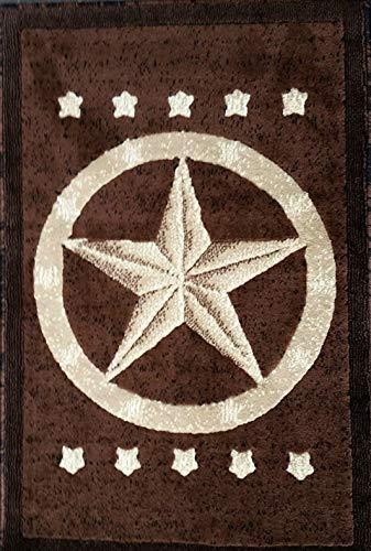 Texas Star Door Mat Area Rug Dark Brown Design #5457 ()