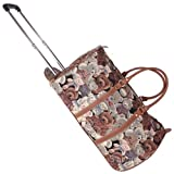 Signare Canvas/Tapestry Wheeled Hand Luggage with retractable handle in Teddy Bear Design