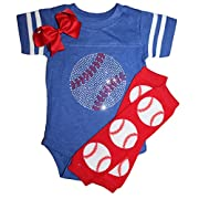 Rhinestone Baby Girls Baseball Blue Team Color Sport Outfit With Red Baseball Leg Warmers 6mo
